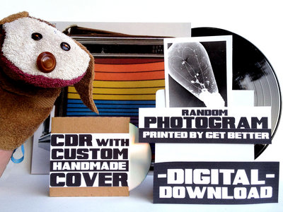 SUPER DELUXE! Digital Album + LP + Custom Handmade CDR + Random Photogram printed by Get Better AND a handmade washcloth HAND PUPPET!