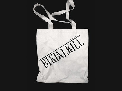 Limited Edition Bikini Kill logo tote bag - black logo on natural tote main photo