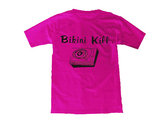Record Player shirt - Black on Fuchsia