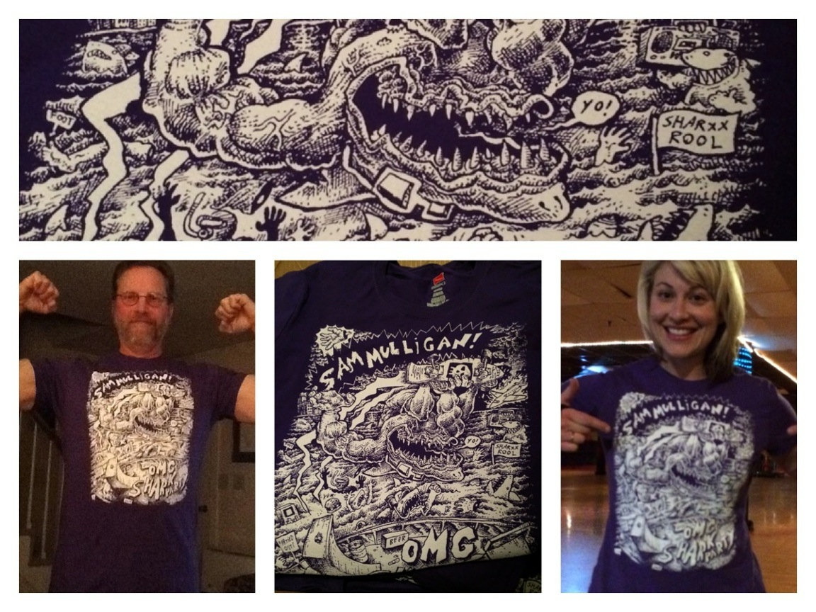 PIctures of Sam Mulligan 'Shark Party' t-shirts!