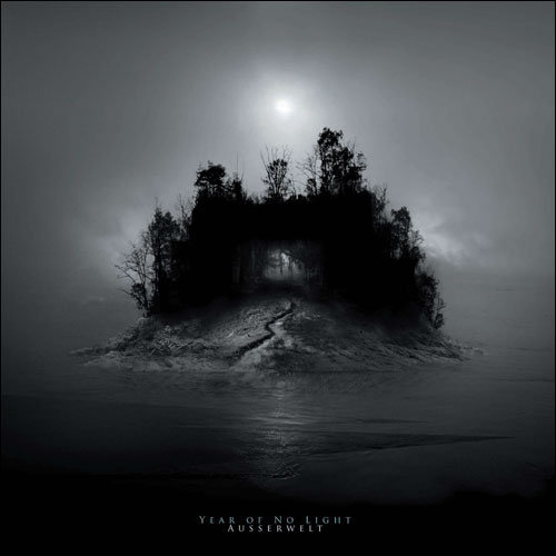 album cover image showing dark island surrounded by a dark ocean and dim sun in the background
