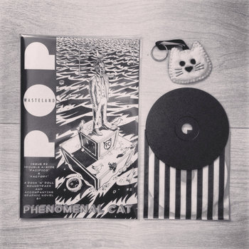 PACIFICO/FACTORY (Double a-side CD single) + ISSUE #2 of POP WASTELAND (accompanying 32-page graphic novel) + exclusive monochrome cat keyring! cover art
