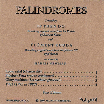 Palindromes EP cover art