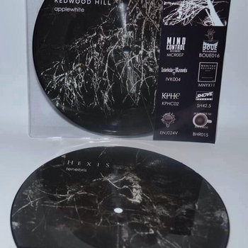 "Redwood Hill/Hexis split (7"" picture disc) cover art"